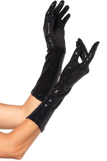 Leg Avenue перчатки, черные Расшитые пайетками