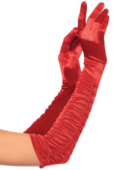 Leg Avenue Ruched Satin Gloves Перчатки яркого насыщенного цвета