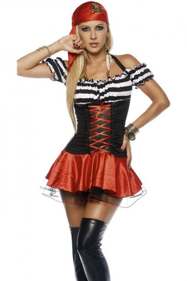 Le Frivole Коварная пиратка, Мини-платье и платок на голову - Размер S-M от condom-shop.ru