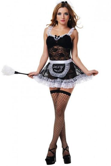 Le Frivole Покорная горничная, Платье, фартук, чулочки и головной убор - Размер S-M от condom-shop.ru