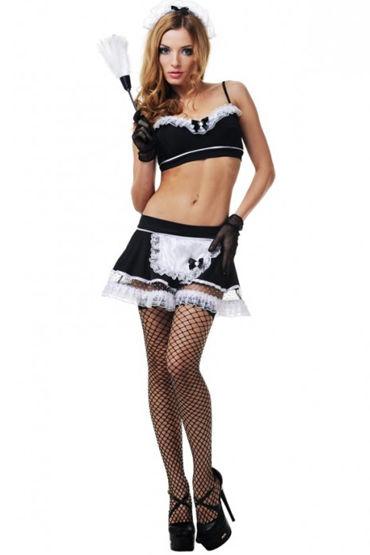 Le Frivole Порочная горничная, Топ, юбка с фартуком, чулочки и аксессуары - Размер S-M от condom-shop.ru