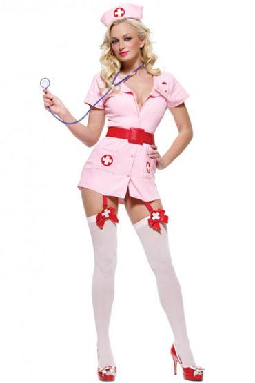 Le Frivole Похотливая медсестра, Халатик, чепчик и лаковый пояс - Размер M-L