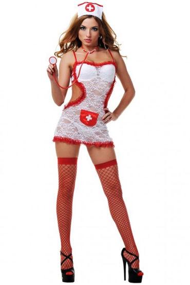 Le Frivole Соблазнительной медсестры, Платье-фартук, чулки, чепчик и стетоскоп - Размер S-M