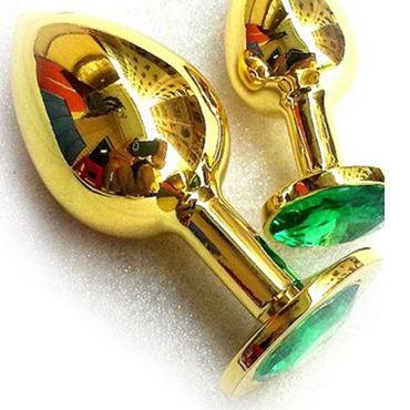 Butt Plug Gold Large, зеленый Большая анальная пробка, украшена кристаллом