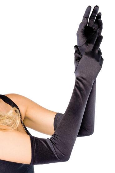 Leg Avenue Extra Long Satin Gloves, черные Длинные атласные перчатки