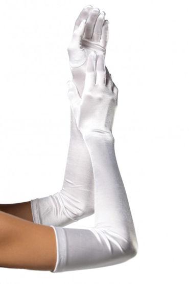 Leg Avenue Extra Long Satin Gloves, белые Длинные атласные перчатки
