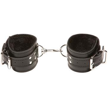 X-play Passion Fur Wrist Cuffs, черные Кожаные наручники с меховой подкладкой