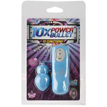 Doc Johnson 10X Power Bullet, голубое Виброяйцо, 10 функций