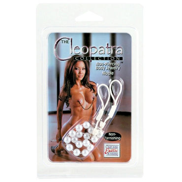 California Exotic Cleopatra Collection Nipple Jewelry Pearls, белые Бусы для украшения груди