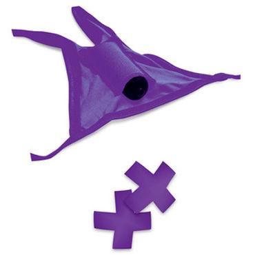 Pipedream Neon Vibrating Crotchless Panty and Pasties Set, фиолетовый Набор, трусики с вырезом, пэстисы и вибропуля