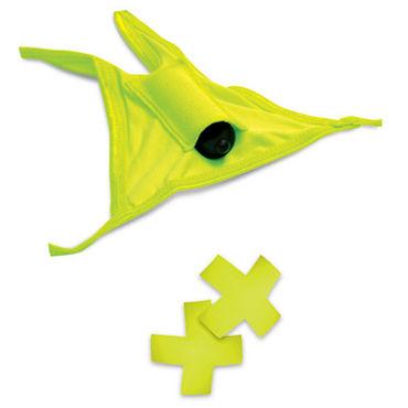 Pipedream Neon Vibrating Crotchless Panty and Pasties Set, желтый Набор, трусики с вырезом, пэстисы и вибропуля