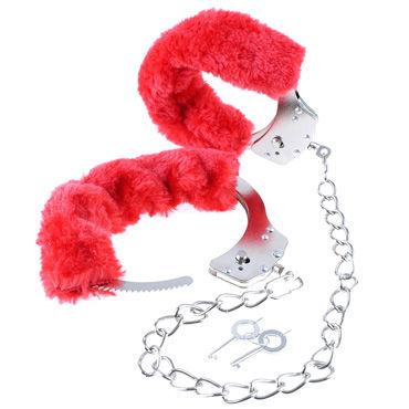 Pipedream Original Furry Leg Cuffs, красные Мягкие оковы для ног