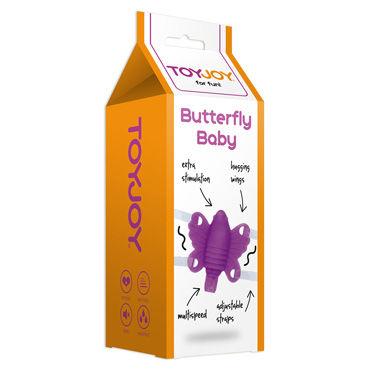 Toy Joy Butterfly Baby, фиолетовая Вибробабочка на ремешочках