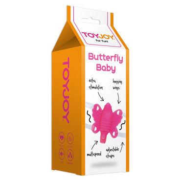 Toy Joy Butterfly Baby, розовая Вибробабочка на ремешочках