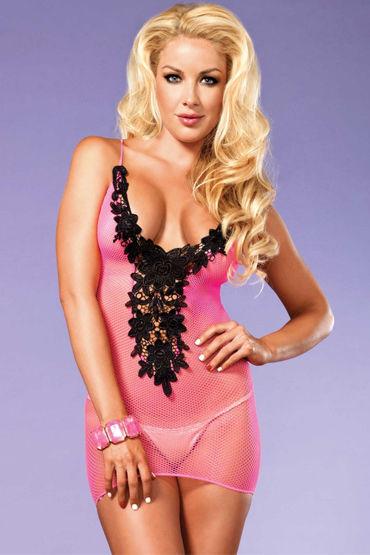 Leg Avenue мини-платье, неоново-розовое С цветочной аппликацией