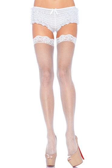 Leg Avenue чулки, белые, С тонкими ажурными резинками - Размер Универсальный (XS-L)