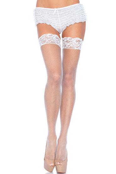 Leg Avenue чулки, белые С красивой кружевной резинкой