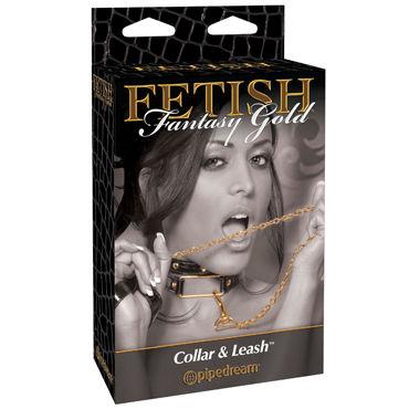 Pipedream Gold Collar&Leash, Стильный ошейник с поводком