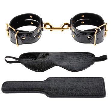 Pipedream Gold Fantasy Bondage Kit Дизайнерская маска, пэддл и наручники