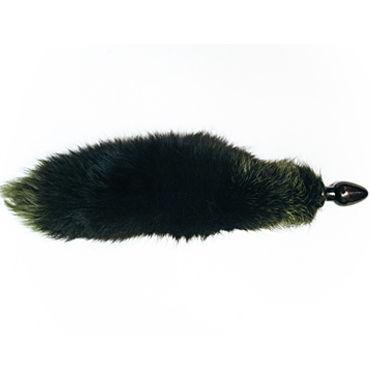 Wild Lust анальная пробка, 32 мм, Черная, с зеленым лисьим хвостом