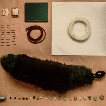 Wild Lust анальная пробка, 40 мм Черная, с зеленым лисьим хвостом