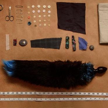 Wild Lust анальная пробка, 40 мм Черная, с голубым лисьим хвостом