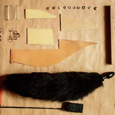 Wild Lust анальная пробка, 32 мм Черная, с черным лисьим хвостом