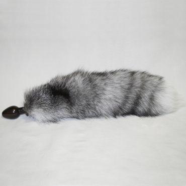 Wild Lust анальная пробка, 32 мм, Черная, с серым лисьим хвостом