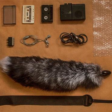 Wild Lust анальная пробка, 40 мм Черная, с лисьим черно-бурым хвостом