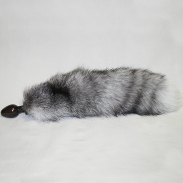 Wild Lust анальная пробка, 32 мм Коричневая, с серым лисьим хвостом