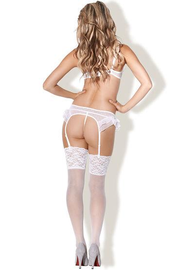 Kiss Me Beauty Queen, белый Откровенный лиф, стринги и пояс для чулок