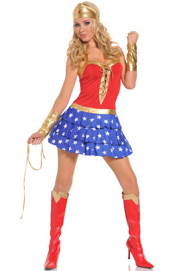 Le Frivole Wonder Woman, Мини-платье, стринги, манжеты и головной убор - Размер S-M от condom-shop.ru
