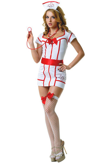 Le Frivole Доктор Сьюзи, Платье с поясом, чулки, чепчик и стетоскоп - Размер S-M