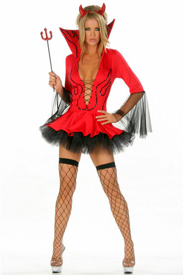 Le Frivole Пламенная Подружка, Красивое платье с подъюбником и трезубец - Размер S-M от condom-shop.ru