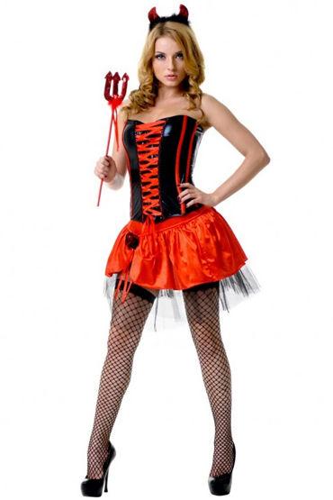 Le Frivole Соблазнительная Чертовка, Корсет, юбка, рожки и трезубец - Размер S-M