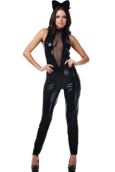 Le Frivole Черная Кошка, Эротичный комбинезон и ушки на ободке - Размер M-L