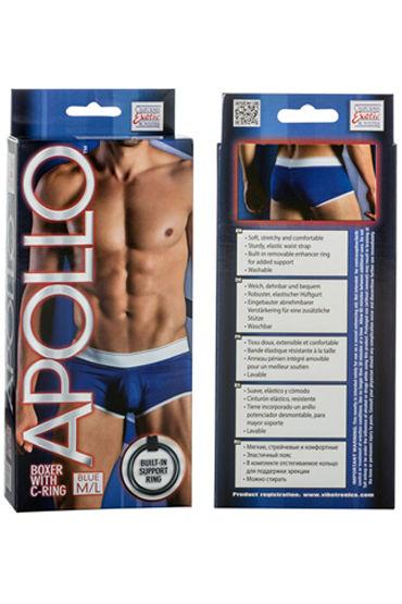 California Exotic Apollo Boxer with C-Ring, синие Мужские трусы с эрекционным кольцом