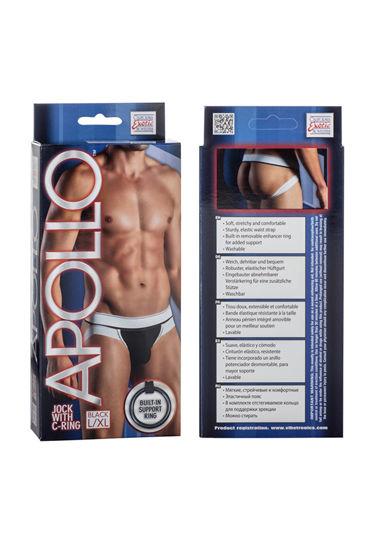 California Exotic Apollo Jock with C-Ring, черные Мужские трусы-джоки с эрекционным кольцом