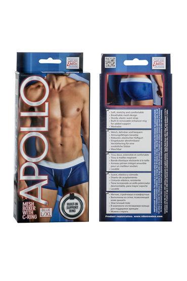 California Exotic Apollo Mesh Boxer with C-Ring, синие Мужские трусы с эрекционным кольцом