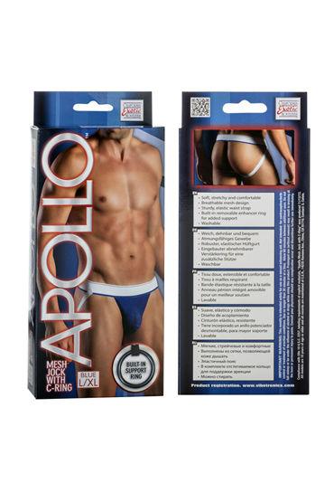 California Exotic Apollo Mesh Jock with C-Ring, синие Мужские трусы-джоки с эрекционным кольцом