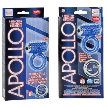 California Exotic Apollo Premium Enhancers, синее Эрекционное кольцо с вибрацией