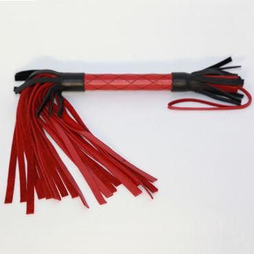 BDSM Арсенал плетка, черно-красная, С декоративной строчкой