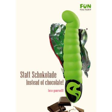 Fun Factory Patchy Paul, зеленый Оригинальный водонепроницаемый вибратор для стимуляции точки G