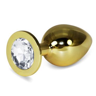 LoveToy Large, прозрачный Увеличенная золотая втулка с прозрачным кристаллом