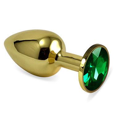 LoveToy Small Анальная втулка, золотая С изумрудным кристаллом