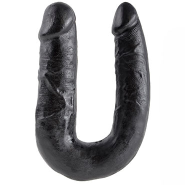Pipedream King Cock U-Shaped Medium Double Trouble, черный Двусторонний фаллоимитатор среднего размера