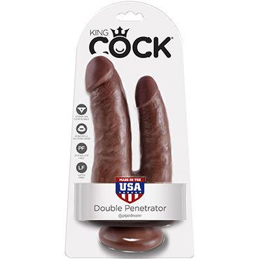 Pipedream King Cock Double Penetrator, коричневый Реалистичный двойной фаллоимитатор на присоске