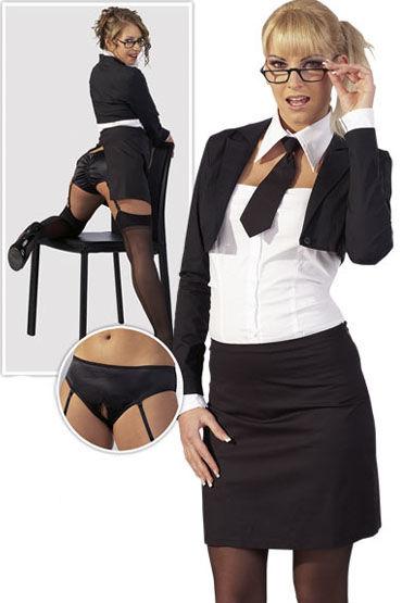 Cotelli Секретарша черно-белый Эротический костюм из спандекса
