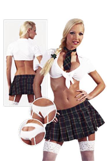 Cotelli Школьница бело-синий Эротический костюм