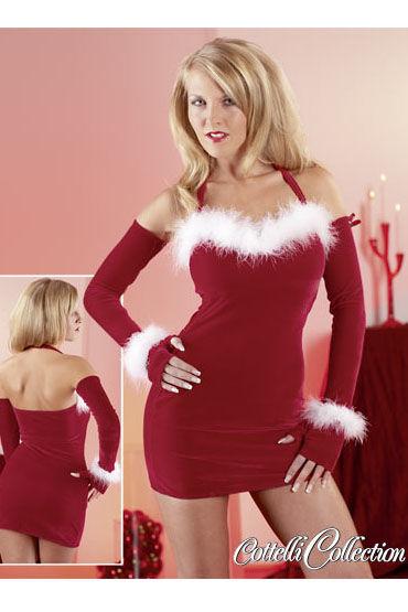 Cottelli Платье Рождественское бело-красный Эротический костюм